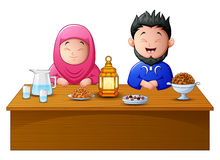 Happy muslim couple break fasting together. Illustration of Happy Muslim couple break fasting together royalty free illustration