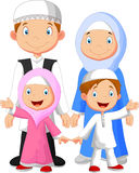 Happy Muslim family cartoon Royalty Free Stock Photos