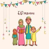 Happy muslim family celebrating Eid Mubarak festival. Illustration of happy islamic family in traditional dress celebrating and enjoying on occasion of muslim Royalty Free Stock Photos