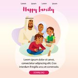 Happy Muslim Family Vector Landing Page Template royalty free illustration