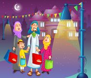 Happy muslim family doing shopping for Eid Royalty Free Stock Photography