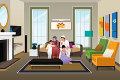 Happy Muslim Family at Home stock illustration