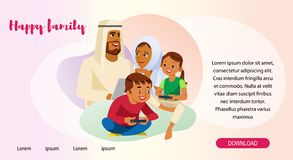 Happy Muslim Family Web Page Vector Template vector illustration