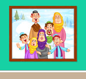 Happy muslim family in photo frame Stock Photos