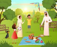 Happy Muslim Family on Picnic In City Park Vector royalty free illustration