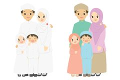 Happy Muslim Family Portrait Vector. Muslim family portrait in white dress and colorful dress, vector illustration vector illustration