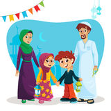 Happy Muslim Family with Ramadan Icons Royalty Free Stock Image