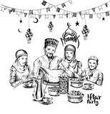 Happy Muslim family Ramadan Kareem Iftar party celebration, Hand. Drawn Sketch Vector illustration Royalty Free Stock Image