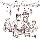 Happy Muslim family Ramadan Kareem Iftar party celebration, Hand. Drawn Sketch Vector illustration Stock Image