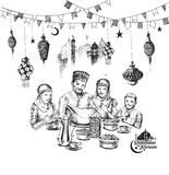 Happy Muslim family Ramadan Kareem Iftar party celebration, Hand Stock Image