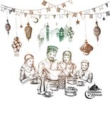 Happy Muslim family Ramadan Kareem Iftar party celebration. Hand Drawn Sketch Vector illustration Royalty Free Stock Image