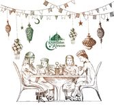 Happy Muslim family Ramadan Kareem Iftar party celebration Royalty Free Stock Image