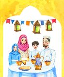 Happy Muslim family with two children and decorations Ramadan Kareem Iftar party celebration, hand drawn watercolor illustration vector illustration