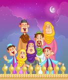 Happy muslim family wishing Eid mubara Royalty Free Stock Photo