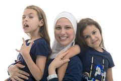 Happy Muslim Female Family, Mother and Her Funny Pose Daughter stock photos