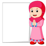 Happy muslim girl cartoon holding blank sign Royalty Free Stock Photography