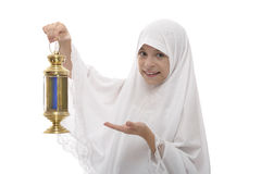 Happy Muslim Girl Celebrating Ramadan with A Festive Lantern Stock Photos