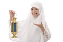Happy Muslim Girl Celebrating Ramadan Holding A Traditional Fest Stock Image