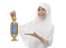 Happy Muslim Girl Celebrating Ramadan Holding Traditional Festiv Stock Images