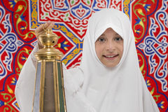 Happy Muslim Girl with Festive Ramadan Lantern Royalty Free Stock Photos