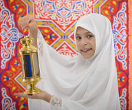 Happy Muslim Girl Holding Festive Ramadan Lantern Royalty Free Stock Photos