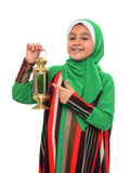 Happy Muslim Girl Pointing at Ramadan Lantern Stock Photography