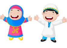 Happy Muslim kid cartoon Royalty Free Stock Image