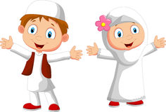 Happy Muslim kid cartoon Stock Photos