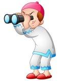 Happy Muslim kid playing binoculars Royalty Free Stock Image