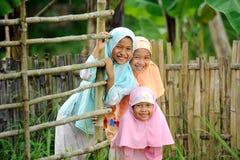Happy Muslim Kids Outdoor Stock Images