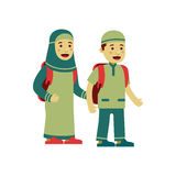 Happy muslim kids. With uniform vector illustration, flat style. go to school or mosque Stock Photo