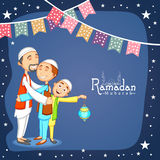 Happy Muslim men for holy month, Ramadan Kareem celebration. Royalty Free Stock Image