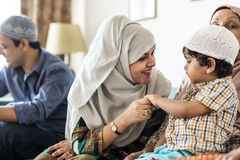 Happy Muslim mother and son royalty free stock image