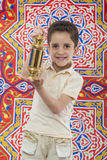 Happy Muslim Young Boy Celebrating Ramadan with Lantern Royalty Free Stock Image