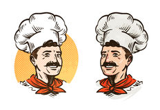Happy mustached chef in hat. Vector illustration Stock Photography