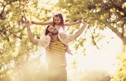 Happy with my daddy. Little girl. Stock Image