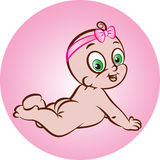 Happy naked baby girl Stock Image