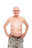 Happy naked senior man. Portrait of naked senior man smiling, isolated on white background Royalty Free Stock Photography