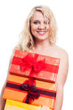 Happy naked woman with gifts Stock Photos