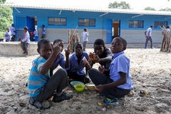Happy Namibian school children waiting for a lesson. Stock Photography