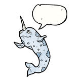 Happy narwhal cartoon Stock Photography
