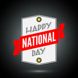 Happy national day badge with ribbon Stock Photo