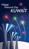 Happy National Day Celebration Kuwait. Featuring The Iconic Kuwait Water Towers Royalty Free Stock Photography
