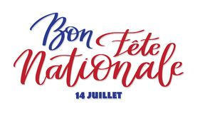 Happy national day, july 14 - text on french language, hand-writing, typography calligraphy. Red and white words on white background stock illustration