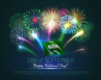 Happy national day of Kingdom of Saudi Arabia. Greeting card with realistic fireworks and fluttering flag. Patriotic holiday celebrated 23th of September vector illustration