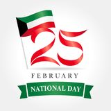 25 February Kuwait national day flag banner. Happy National Day Kuwait, national flag and text 25 February poster Royalty Free Stock Photography