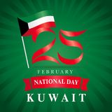 25 February Kuwait national day flag banner green beams. Happy National Day Kuwait poster, flag in national colors and text 25 February Royalty Free Stock Image