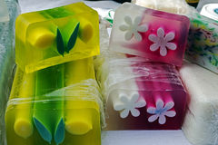 Happy natural soaps for children 10. Soaps for children with various ornaments, made ​​from natural products and various fruit flavors Stock Photo