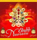 Happy navratri celebration background with face of goddess durga Stock Photos