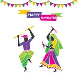 Happy navratri festive poster. Happy navratri, playing dandiya dance poster design Stock Photos